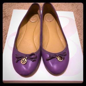Tory Burch Chelsea Purple Ballet Flats